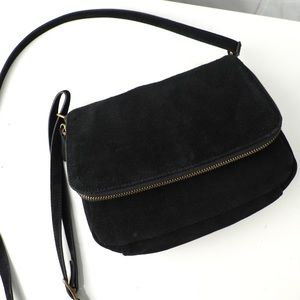Margot black suede crossbody bag zipper flap